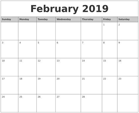 Printable Monthly Calendar 2019 | february 2019 monthly calendar printable