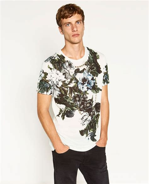 Zara Printed T Shirt Mens by Zara Flowers T Shirt In Graphic Mens Tops Mens Fashion Fashion