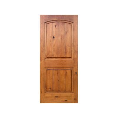Krosswood Doors 32 In X 80 In Knotty Alder 2 Panel Top Solid Wood Prehung Interior Doors
