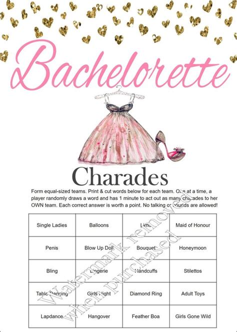 printable bridal shower charades bachelorette party charades bachelorette charades