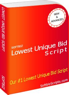 lowest bid lowest unique bid script 150 features unique bid