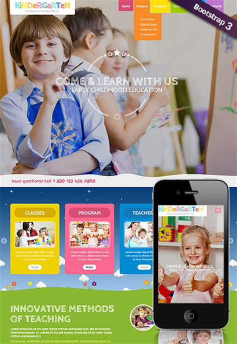 Kindergarten Education Wordpress Theme Playgroup Website Templates