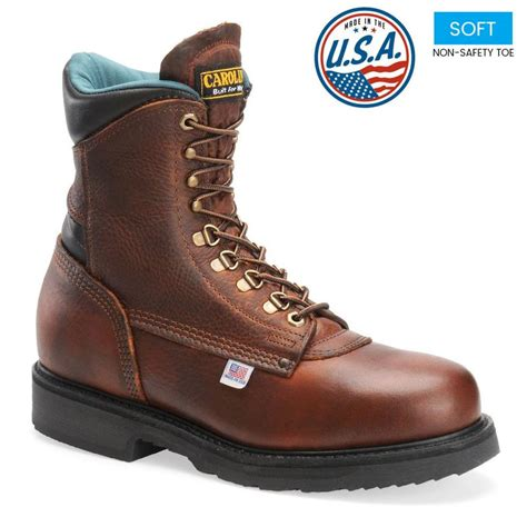 mens boots made in america carolina s 809 8 in plain toe work boots made in