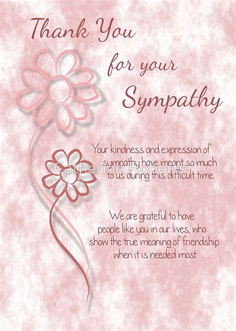 Bereavement Flowers - quot thank you for your sympathy pink sketched flowers with sentiment words quot greeting cards by