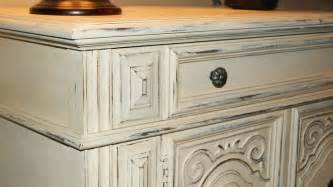 how to distress white kitchen cabinets shabby thomasville buffet with antique white distressed