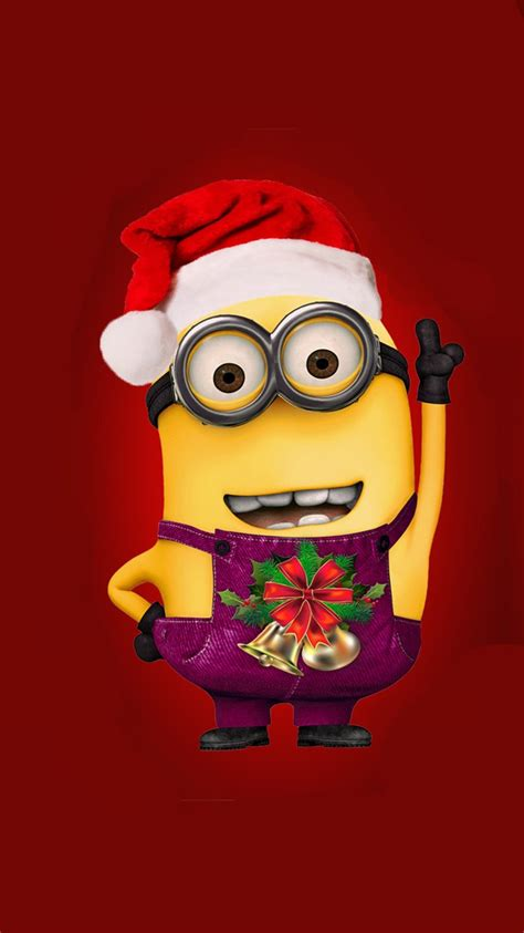 images of christmas minions despicable me minion with christmas hat iphone 6 wallpaper
