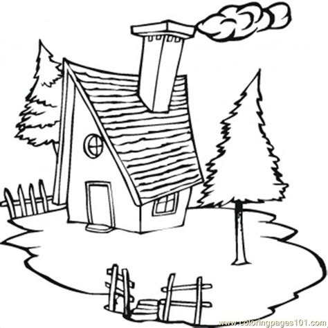 coloring pages cold cottage in the village architecture