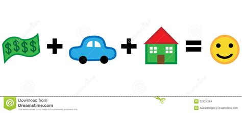 happiness house money car house equals happiness stock images image 32124284
