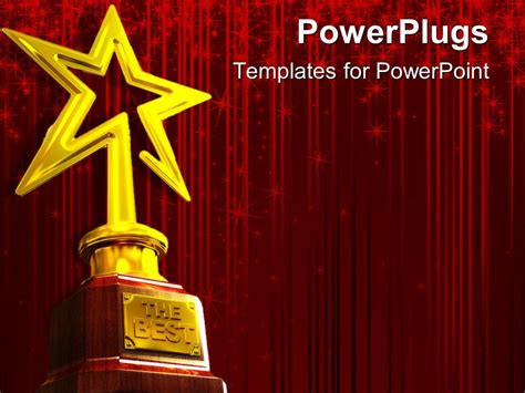 Powerpoint Template Red Glowing Curtain Background With Gold Star Award For Quot The Best Quot 31428 Award Template Powerpoint