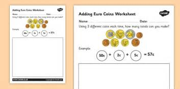 adding euro coins worksheet money currency euros coin