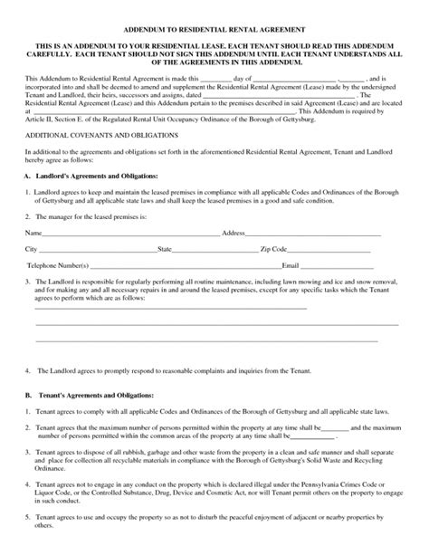 standard residential lease agreement template sle