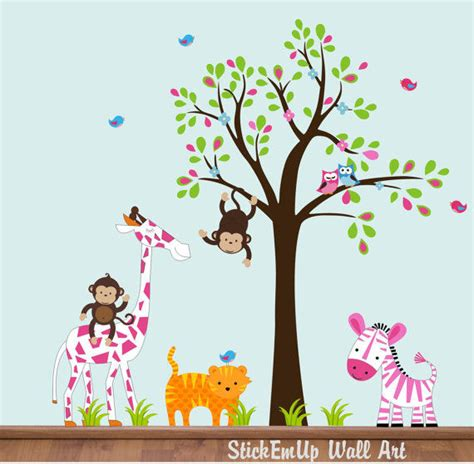 Pink Wall Decals For Nursery Sweet Pink Nursery Zoo With Tree Wall Decals
