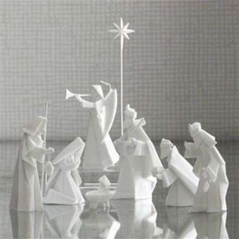 How To Make An Origami Nativity - porcelain origami nativity set ideas