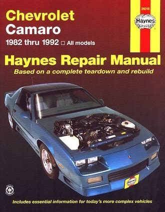 old car repair manuals 1992 chevrolet camaro on board diagnostic system camaro 1982 1992 haynes repair manual coupe berlinetta
