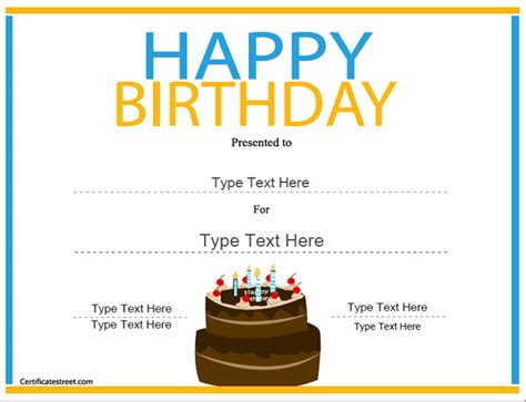 happy birthday template free special certificates happy birthday certificate