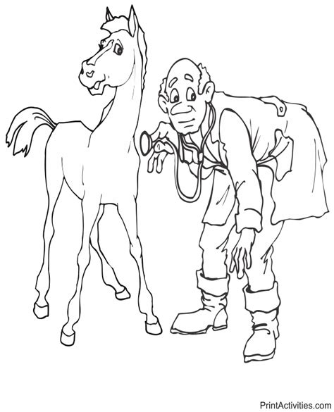coloring pages for veterinarian vet coloring page examining a
