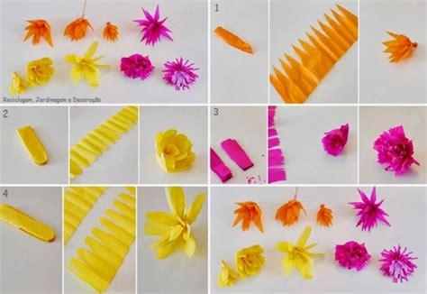como se hacen las cadenas con papel crepe 34 ideas con bonitas flores originales 34 manualidades