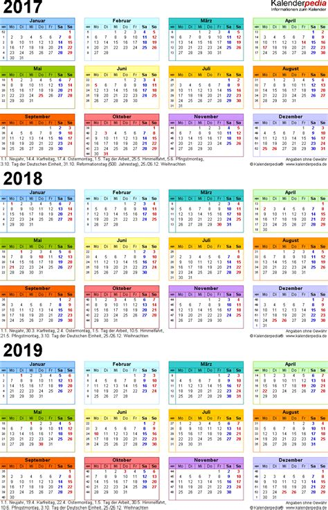 Word Vorlage Jahreskalender 2018 Dreijahreskalender 2017 2018 2019 Als Word Vorlagen Zum Ausdrucken