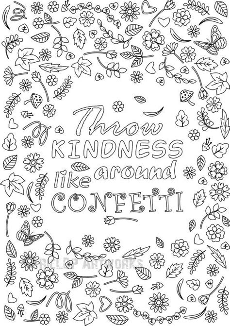 throw kindness   confetti coloring page