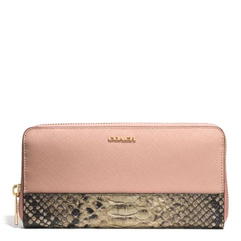 light pink coach wallet lyst coach accordion zip wallet in colorblock mixed