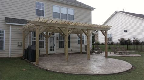 Custom Sted Concrete Patio With Pergola By Carolina How To Build A Pergola On Concrete Patio