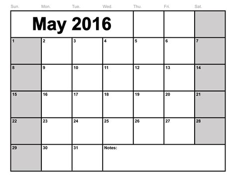 2016 Calendar Printable Free May 2016 Calendar Printable Template 8 Templates