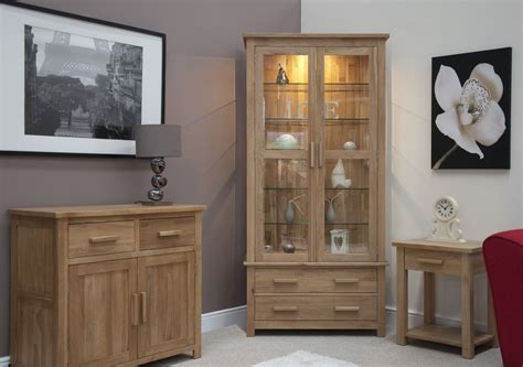 Living Room Cabinet Furniture Eton Solid Oak Living Room Furniture Glazed Display Cabinet Cupboard Ebay