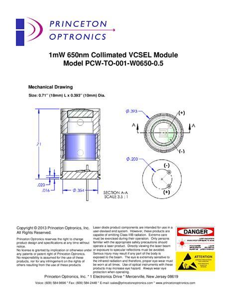 collimated laser diode module princeton optronics 650nm 1mw collimated vcsel diode laser module