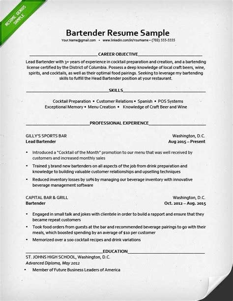 Resume Template For Bartender by Bartender Resume Exle Template Learnhowtoloseweight Net