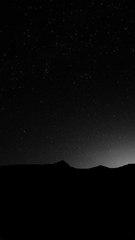 dark night sky silent wide mountain star shining iphone