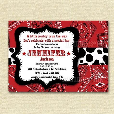 Baby Shower Western Invitations by Western Cowboy Bandana Baby Shower Invitation Printable