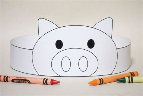 free printable animal headbands pig paper crown color your own printable