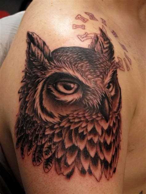 horned owl tattoo horned owl chris black