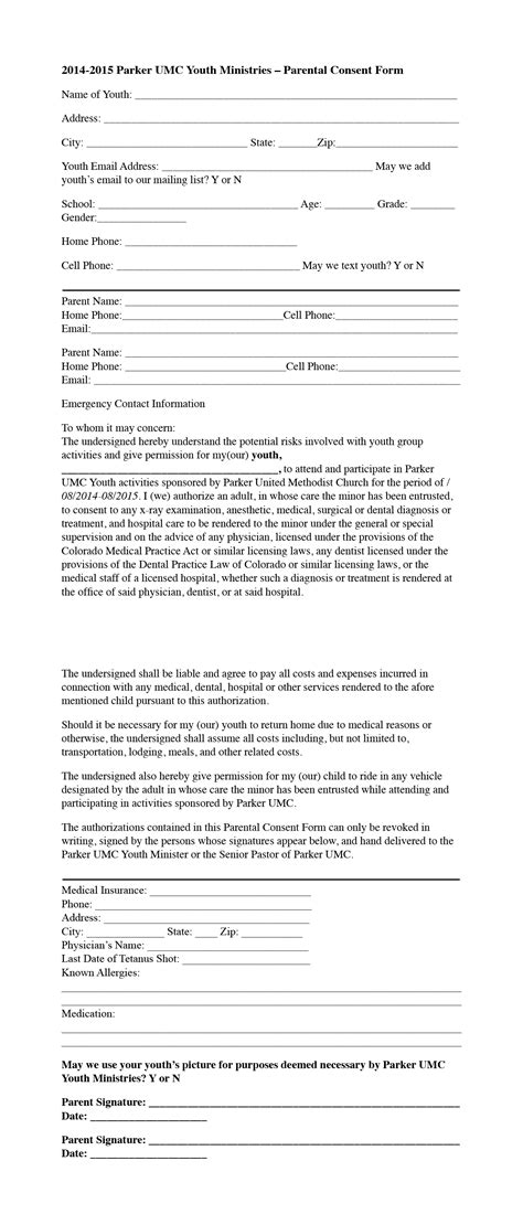 Parent Consent Letter For Retreat Youth Ministries United Methodist Church