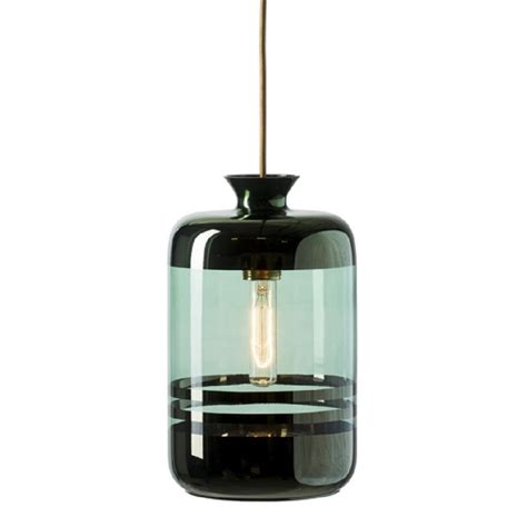 demijohn vase ceiling pendant in transparent green glass