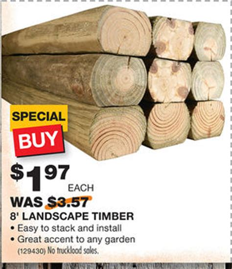 Landscape Timbers Price 1 97 For 8 Foot Landscape Timbers At Home Depot Reg