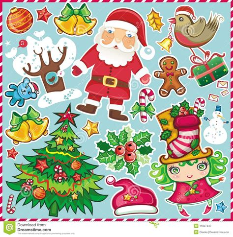 christmas symbols set  stock vector image  bell cartoon