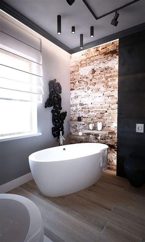 stylish  trendy bathroom  exposed brick tiles