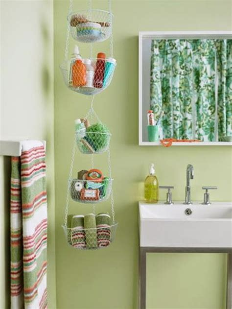 bathroom makeup storage ideas creative diy hanging from ceiling makeup and towel storage
