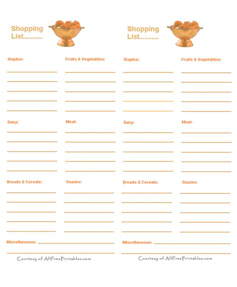 shopping for sheets free printable grocery checklist