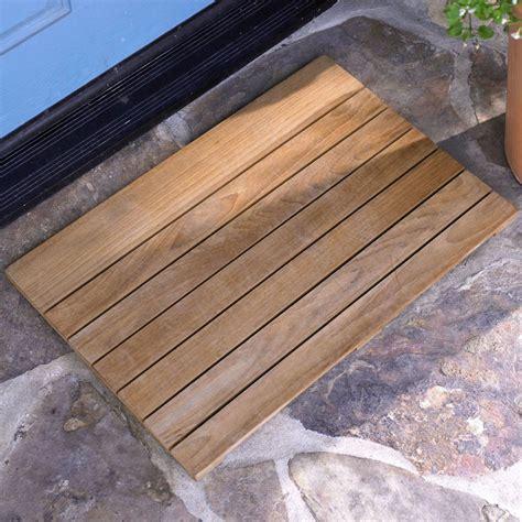 Wooden Door Mat by Teak Slatted Wooden Doormat The Green