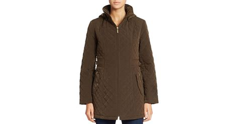 Gallery Quilted Coat by Gallery Hooded Quilted Coat In Brown Bark Lyst