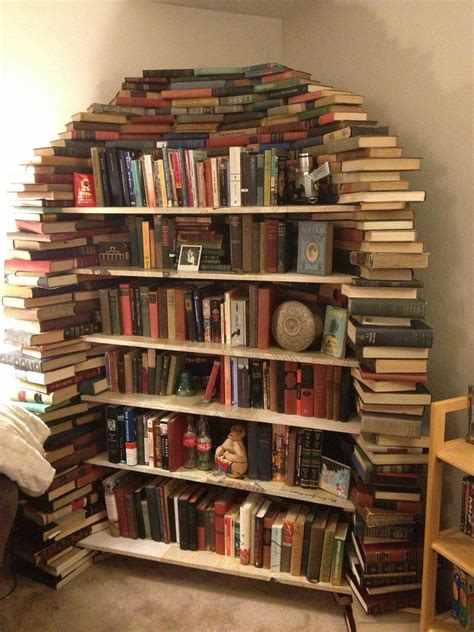 this is my bookshelf made out of books books