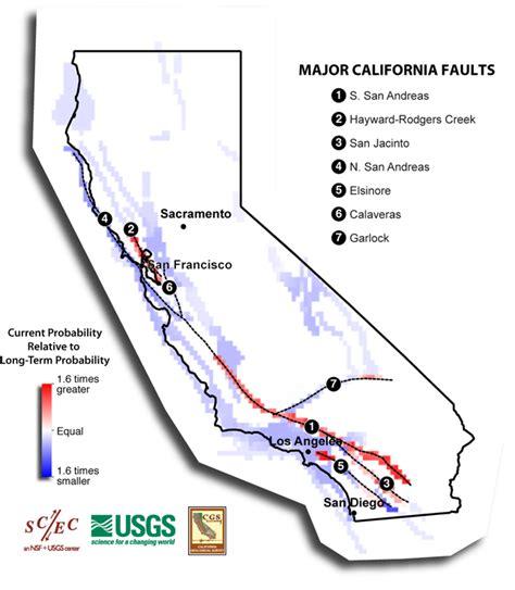 california map earthquake faults second california earthquake rupture forecast