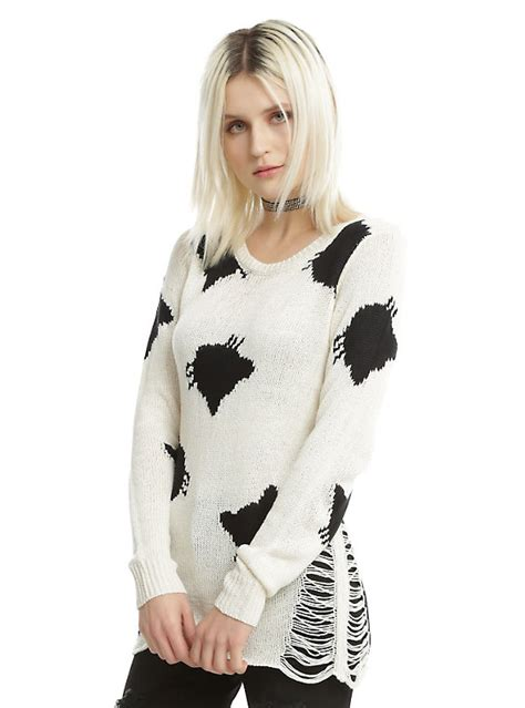 Blackcat Sweater ivory black cat destructed sweater topic