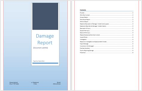 damage report template 26 simple book of property damage frankfort dototday