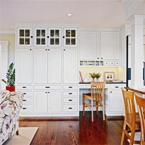 Built In Wall Cabinets Kitchen - built in white wall cabinets and desk in kitchen