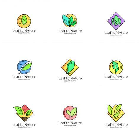 green leaf logo set vector premium