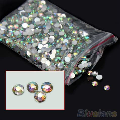 1000pcs V Cut Point Back Ab Rhinestone Permata 1000pcs nail flatback ab 14 facets resin