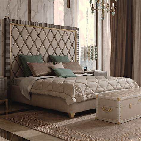 italian designer deco inspired upholstered bed with